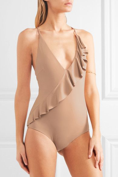 Marysia - Palisades Ruffle-trimmed Swimsuit - Mushroom - small
