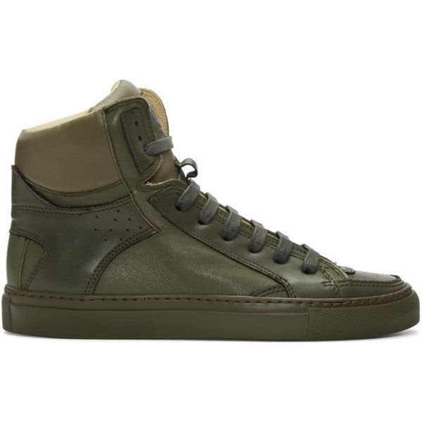 MM6 Maison Margiela Green Calfskin High-Top Sneakers ($400) ❤ liked on  Polyvore