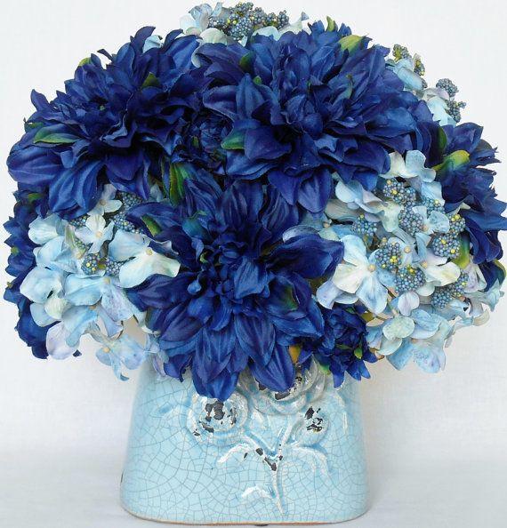 Artificial Flower Arrangement Dark Blue Dahlias And Light Blue Hydrangea In A Teal Vase Silk
