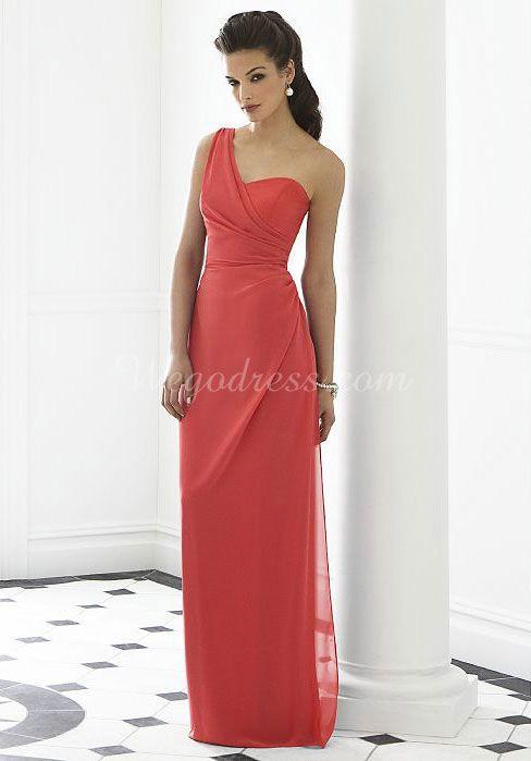 sheath chiffon sleeveless waist long pleated bridesmaid dress - Wegodress.com