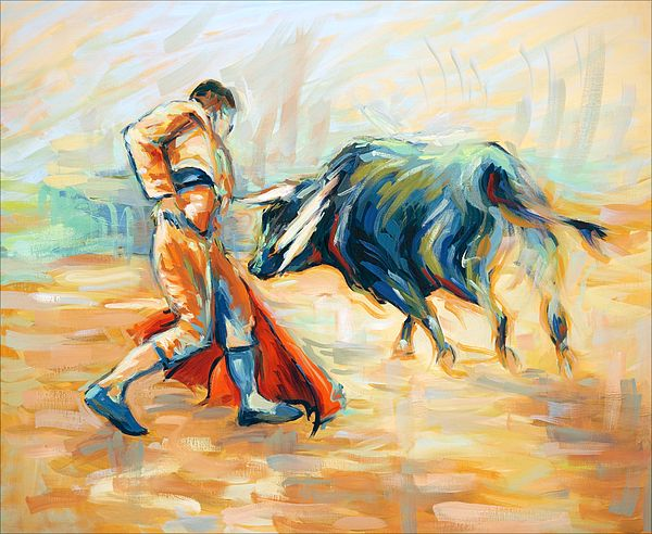 """Morituri Te Salutant"". Toreador bullfighting in corrida. Oil painting by Dusan Balara"