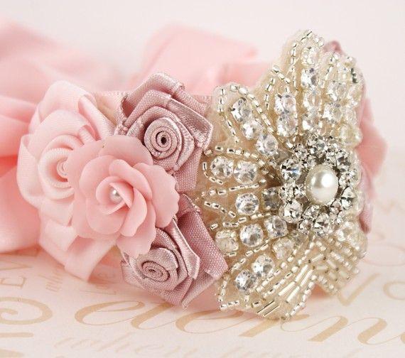 Wrist corsage ideas. #wedding #bridal #bride #bridesmaid #mother #wrist #corsage #bracelet #cuff #pink rhinestones #satin #flowers #silver #beads