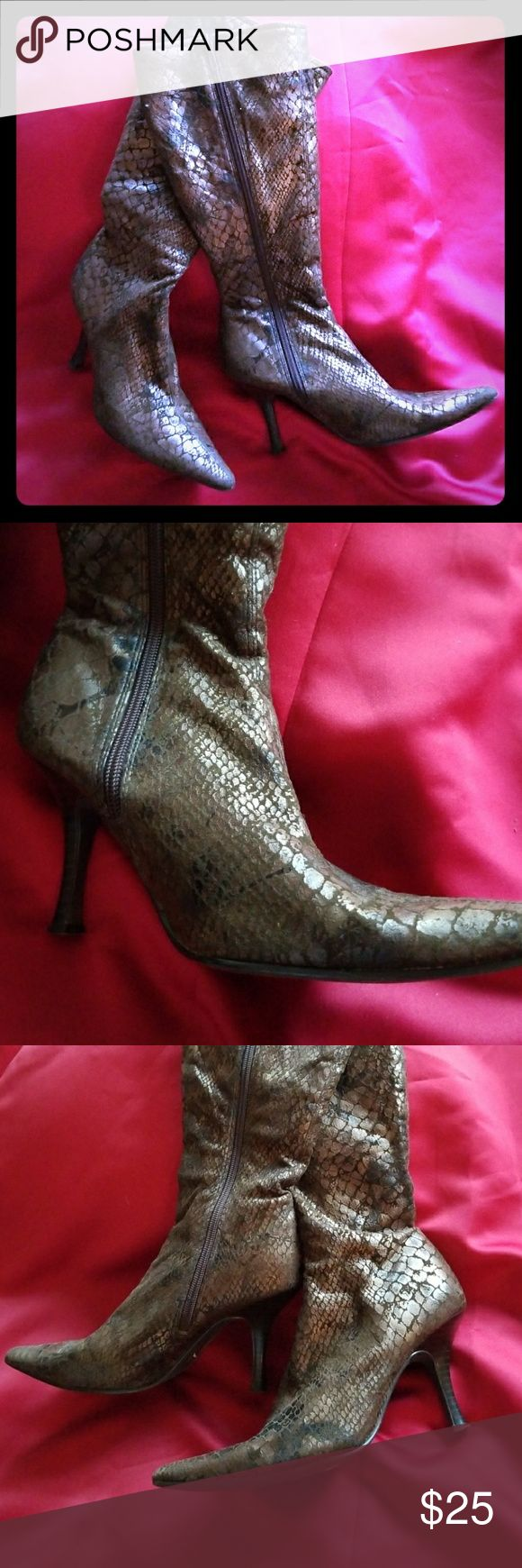 Chilis snakeskin soft heel boot Never worn, size 6m chilis snakeskin boot. Very soft and warm. Chilis Shoes Heeled Boots