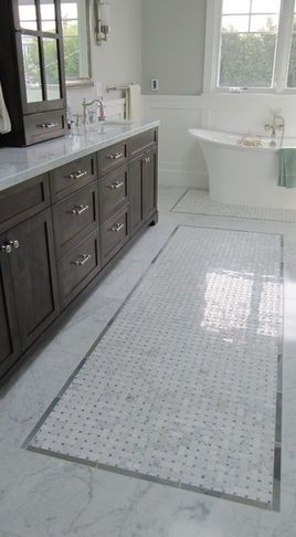 traditional bathroom tile | Traditional Bathroom Tile | tile   trim makes the tiles look like a rug