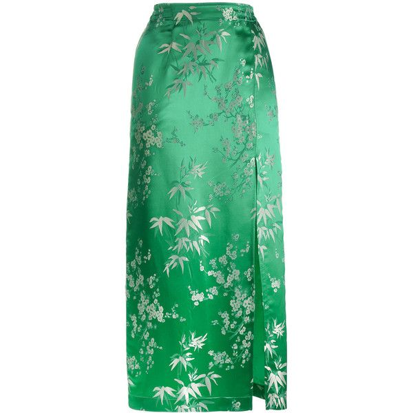 Attico Silk Jacquard Floral Print Mid Length Skirt ($703) ❤ liked on Polyvore featuring skirts, attico, green, green skirt, embroidered skirt, silk skirt, green silk skirt and mid length skirts