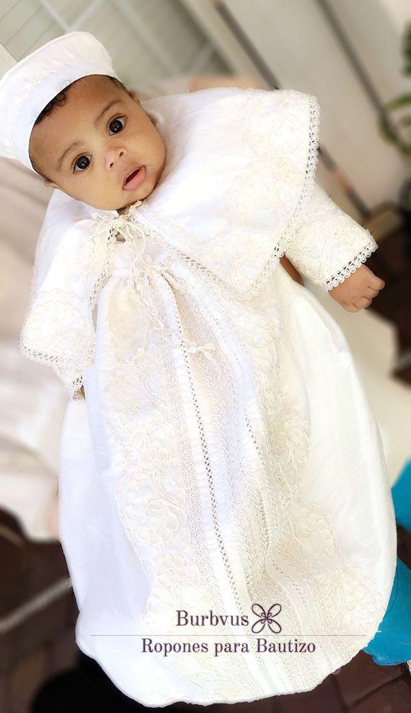 Tradicional Ropon Español para Bautizo, Burbvus B008, Desmontable en seda color blanco #bautizo