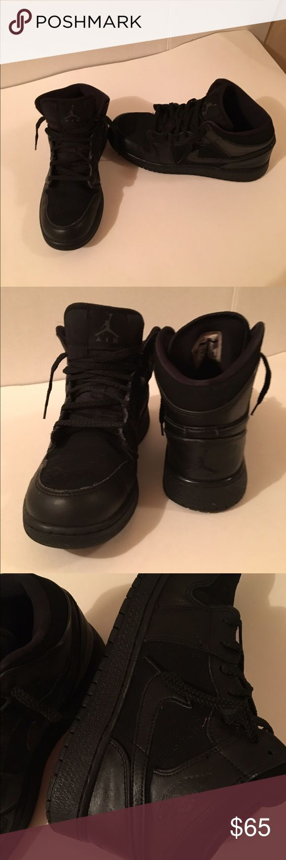 Air Jordan 1 Mid (GS) Black All black Air Jordans. The shoe features nubuck (like  suede) and leather upper for durable comfort and style. All black in excellent condition. Size 6.5Y Jordan Shoes Sneakers