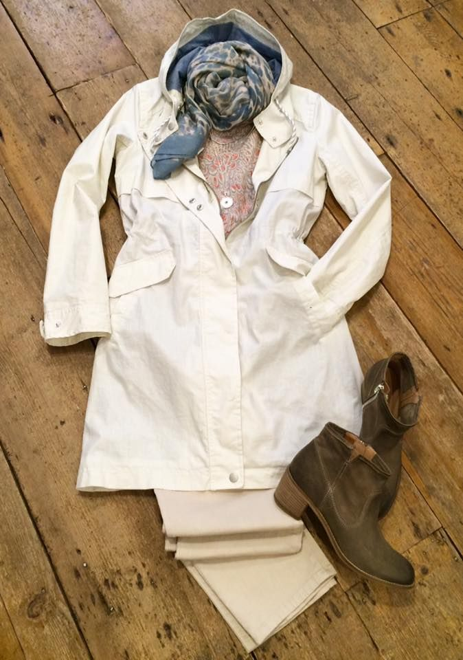 Keep out the rain in our wonderful Sandwich summer coat, we're loving this outfit! Sandwich linen coat £199. Sandwich patterned top £59. NYD jeans £109.95. Sandwich scarf £29.95. Cara boots £99.95. Tutti&Co chain & pendant £24.95 & £8.50.