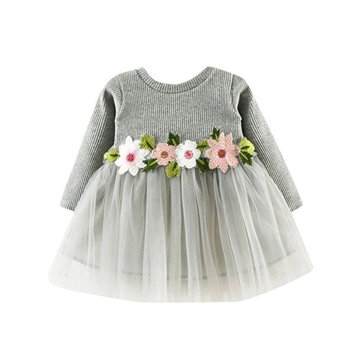 SMARTLADY Bebé Niña Floral Tutú Princesa Vestidos de Manga larga Otoño Invierno Ropa (0-6 meses, Gris)