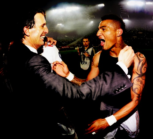 Prince Boateng and Massimo Allegri