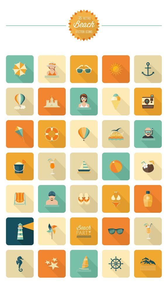 Pack d'icônes de plage rétro gratuit