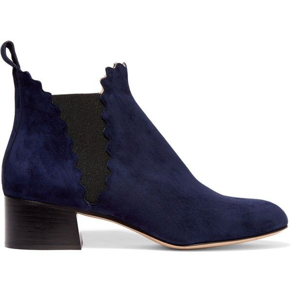 CHLOÉ  Suede scalloped ankle boots ($1,050) ❤ liked on Polyvore featuring shoes, boots, ankle booties, blue booties, navy ankle boots, suede bootie, ankle boots and navy blue booties
