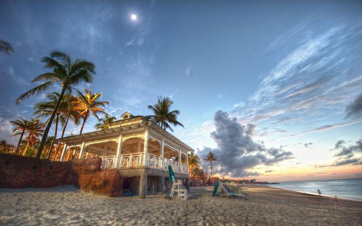 побережье, песок, Багамы, море, павильон, пляж, пальмы, Багамские острова