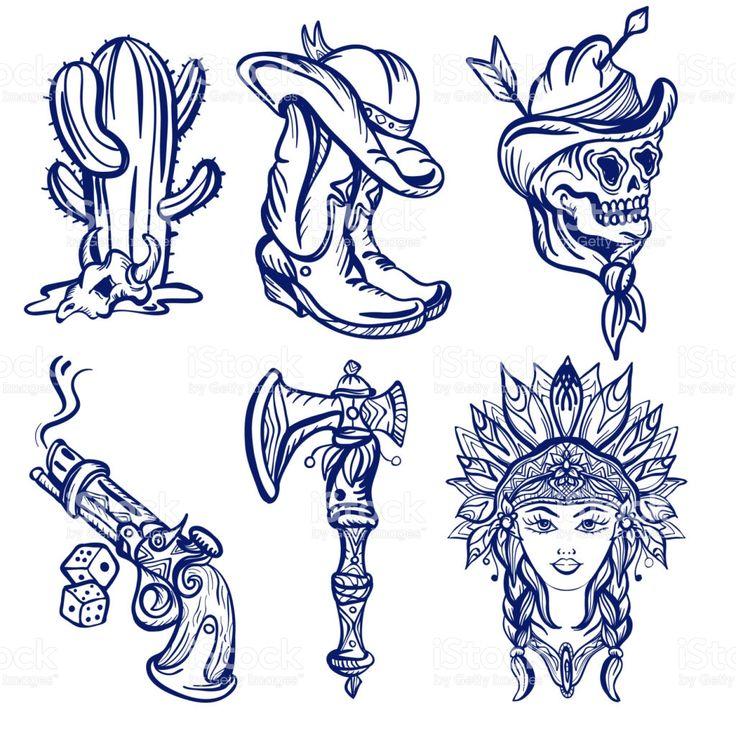Croquis de tatouage old school old west. Ensemble western à la mode. Cow-boy, cactus, ind …   – tattoos I want