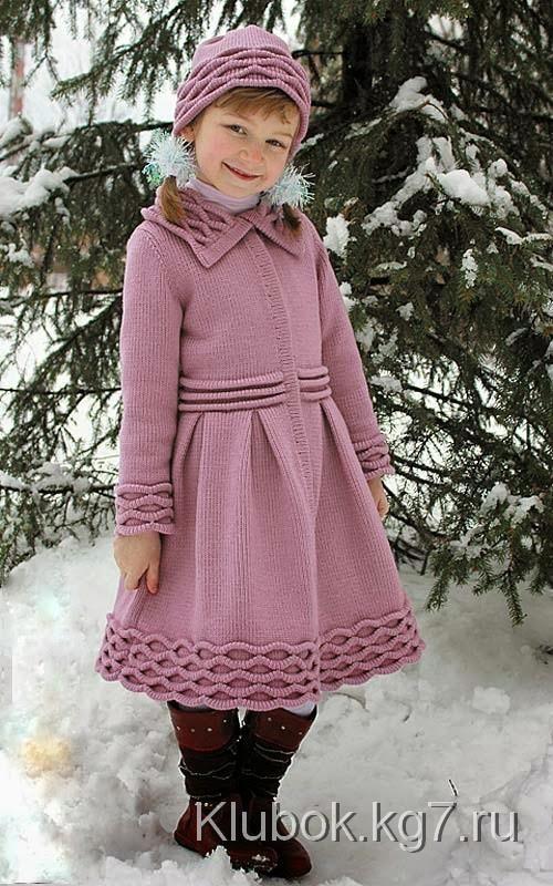 Пальто и шапочка для девочки | Клубок