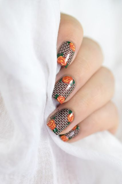 Marine Loves Polish: Nailstorming - Matière, tissu, texture [Roses on a brick wall - VIDEO TUTORIAL] - roses nail art - floral nails - brick wall BM422 - MoYou Cafe au lait - A England Briarwood