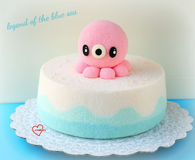Loving Creations for You: 'Legend of the Blue Sea' Pink Octopus Chiffon Cake...