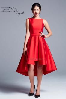 Red, boat neck, fit and flare, high low, knee length dress.  IEENA For Mac Duggal Style 25036i.