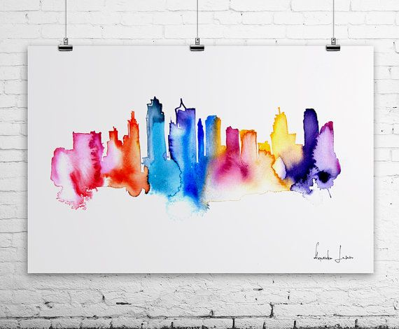 KANSAS City Watercolor Painting - Art Print - Wall Art - skyline poster  sc 1 st  Pinterest & 71 best Kansas City wall art images on Pinterest | Wreath ideas ...