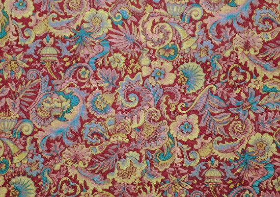 Vintage 1970s Yardage William Morris-type design Mauve Aqua Pink Cranberry Traditional Packed Design Washed Quilting Cotton Peter Pan Fabric...