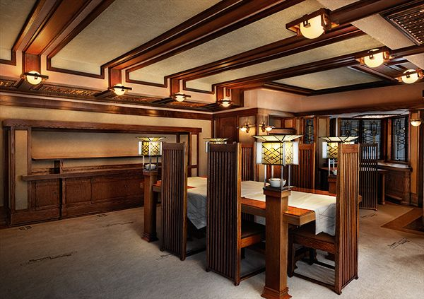 Frank lloyd wright robie house interiors and designs for Frank lloyd wright interior designs