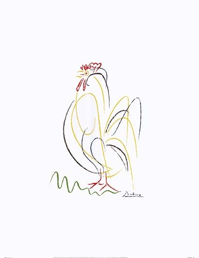 Rooster by Pablo Picasso.  Picasso line drawings.