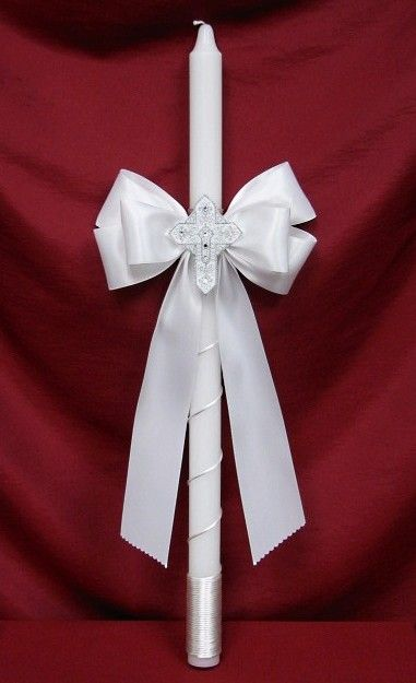 Baptism candle omit bow but wrap with ribbon and cross