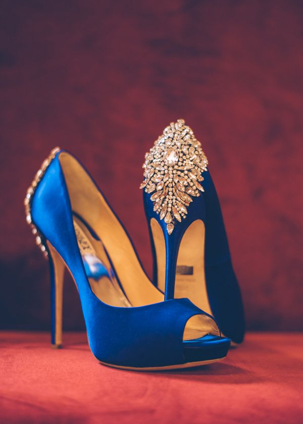 Blue dress gold shoes gray