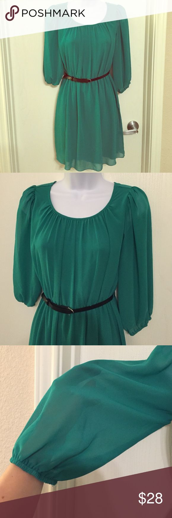 Green dress Pretty green dress, sheer 3/4 sleeves. Fully lined with sheer shell. Worn once. Does not come with belt. Dresses