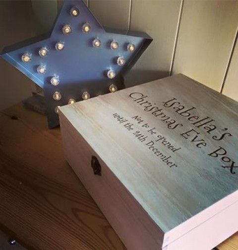Christmas Eve box that has been personalised with an engraving. Fill it up with treats so that Christmas morning wouldn't feel that far away for the little ones! We have an impressive selection of plain wooden crates that can be engraved. More information available at www.craftmill.co.uk