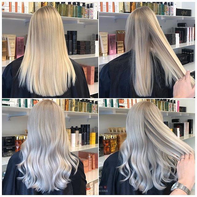 En rejäl uppfräschning av detta sommarblekta hår 💎 #silverblonde #ashhair #olaplex