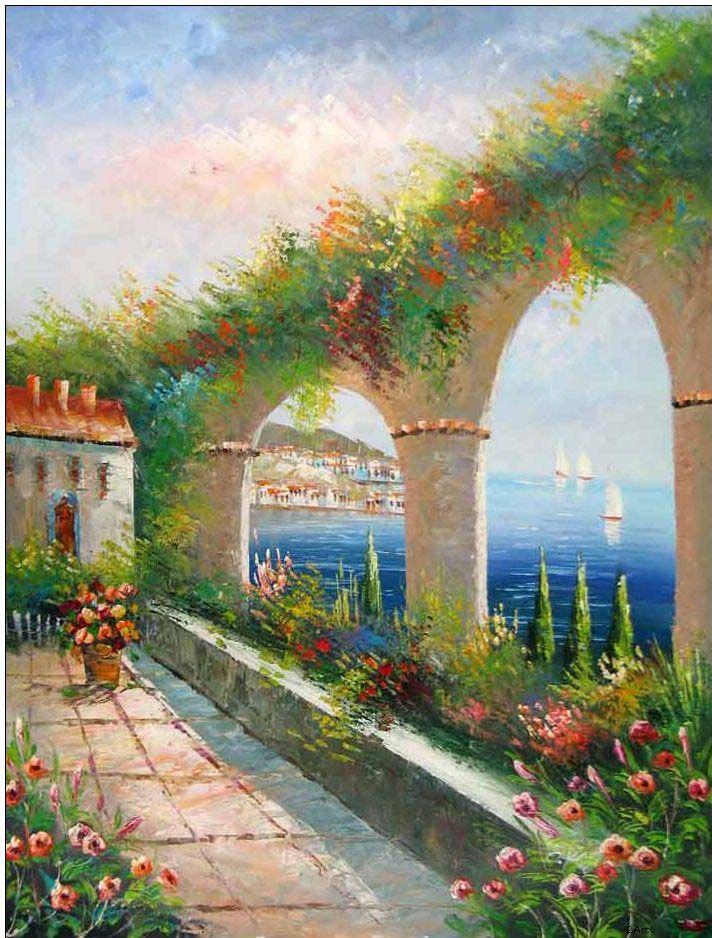 Mediterranean oil painting !!!!!@@@@@¡¡¡¡¡.....http://www.pinterest.com/elianecarneiro/paisagens-3/