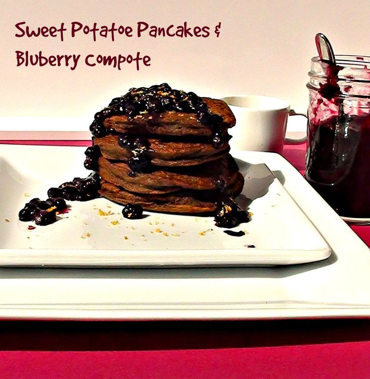 Potato pancakes, with a delicious no sugar added blueberry compote ...