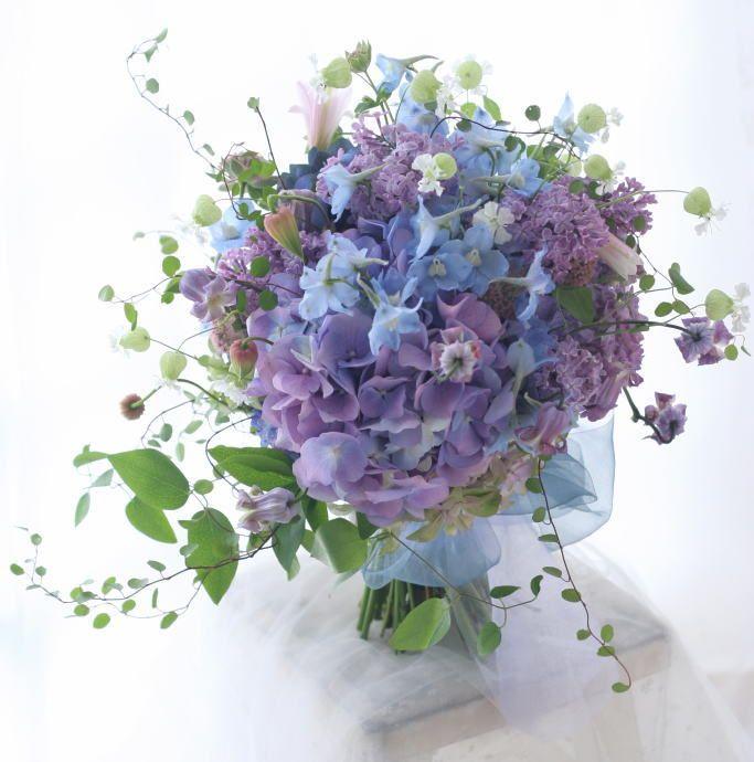 6月 アジサイのブーケとリストレットとバックコサージュ 優しいまなざしを 横浜国際ホテル様へ : 一会 ウエディングの花