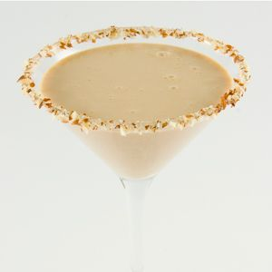 Baileys Toasted Almond Brittle Cocktail      Honey     Crushed almonds     1.5 oz Baileys with a Hint of Caramel     .5 oz Hazelnut liqueur     .5 oz Vanilla liqueur     1 oz Half-and-half Mix equal parts honey and warm water in a small bowl and stir until dissolved. Place crushed almonds onto a small plate. Dip the rim of a Martini glass into the honey water and then into the crushed almonds. Mix everything in a shaker &  fill with ice. Shake well, pour into glass.