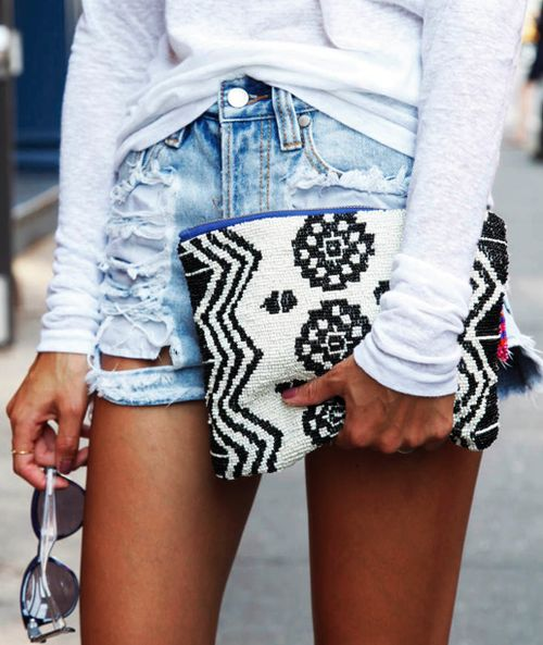 black + white clutch