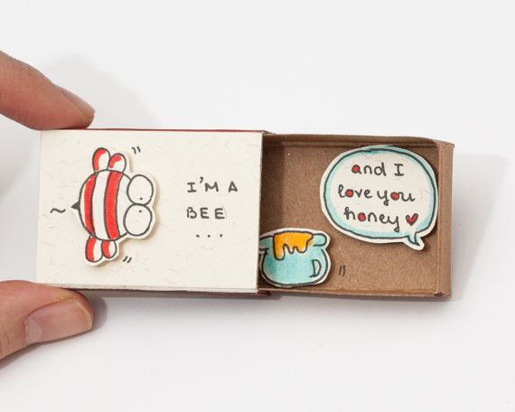 "Funny Love Card/ Witty Anniversary Card/ Matchbox  /Gift box / Message box ""I'm a Bee"" - ""And I love you Honey"""