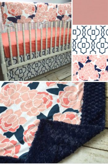 Brooke Floral Girl Crib bedding in Navy Coral by LavenderLinens