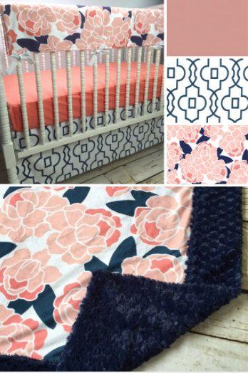 Brooke Floral Girl Crib bedding in Navy Coral by LavenderLinens