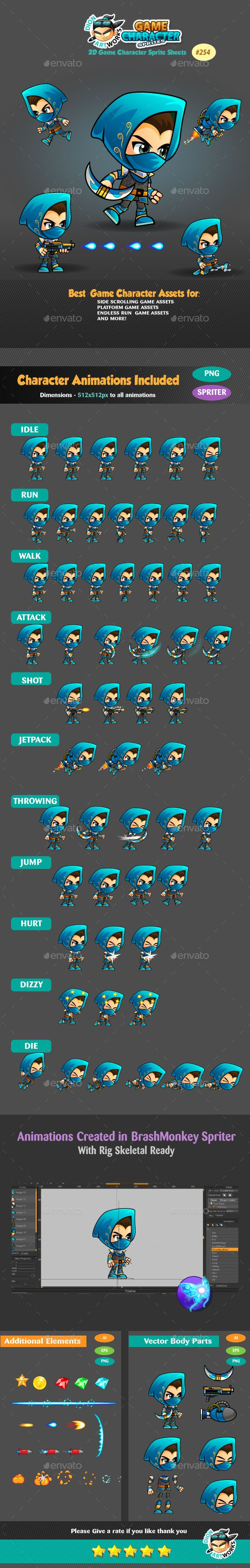 Assassin 2 Game Character Sprites Design Template 254 - Sprites Game Assets Design Template Vector EPS, Ai Illustrator. Download here: https://graphicriver.net/item/assassin-2-game-character-sprites-254/17743910?ref=yinkira
