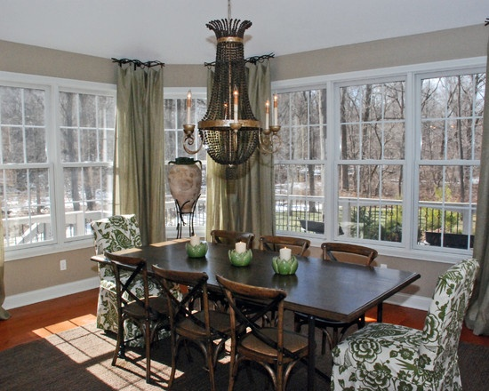 Full Shot Of This Dining Room With Custom Sage Drapes