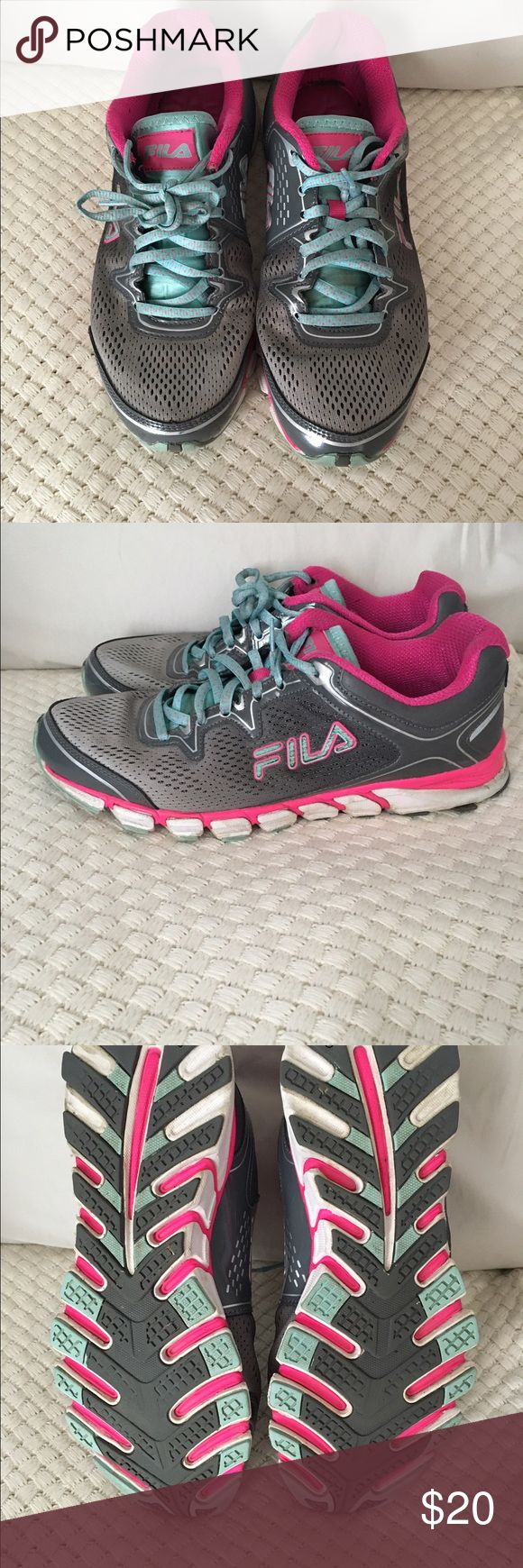 Fila running shoes Fila leather , synthetic and mesh upper lightweight  solid rubber . Hardly worn condition fila Shoes Athletic Shoes