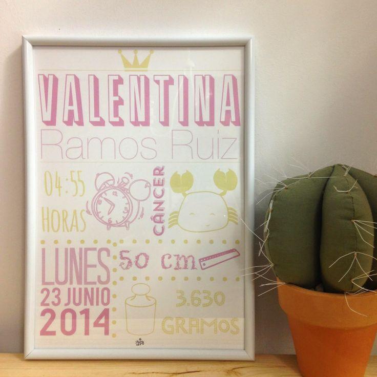 Amart Palma: Láminas decorativas: natalicios con los datos del nacimiento de un bebé