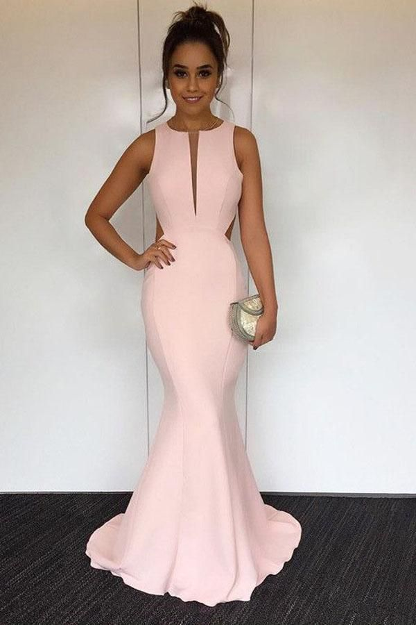 Sleeveless Long Mermaid Pink Elegant Beautiful Simple Backless Prom Dresses  Z0563 40de53b41a03