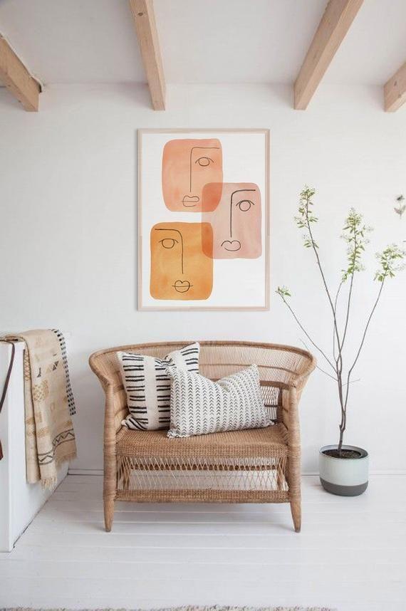 Mid Century Modern Art Printable Wall Art Abstract Faces Print Downloadable Orange Tone Print Line In 2020 Modern Art Printables Wall Printables Mid Century Modern Art