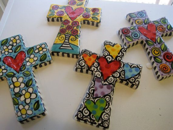 Hand Painted Ceramic Cross by shannondesigns on Etsy