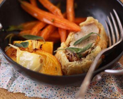 Filet mignon en croûte et ses carottes rôties à l'orange