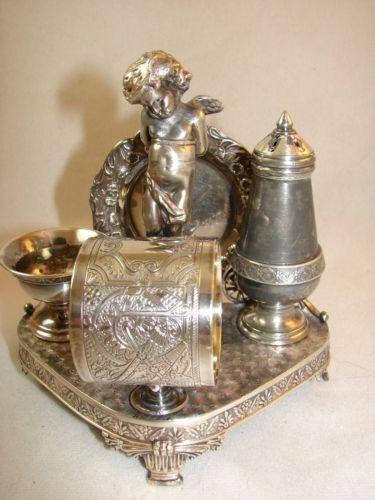 Victorian silver figural napkin rings