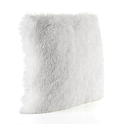 Coussin carré à poils longs blancs 45x45cm