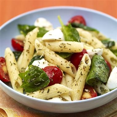 Penne Pasta Salad with Spinach and Tomatoes. With a triple hit of antioxidants from the rosemary, thyme and oregano, this pasta salad is sure to stand out at a summer potluck.